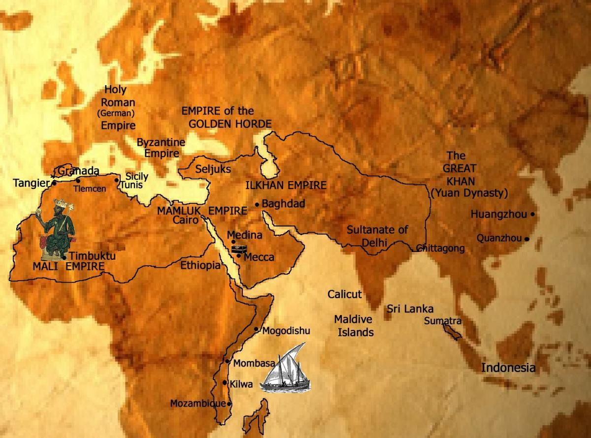 The Travels of Ibn Battuta – Places Traveled Map