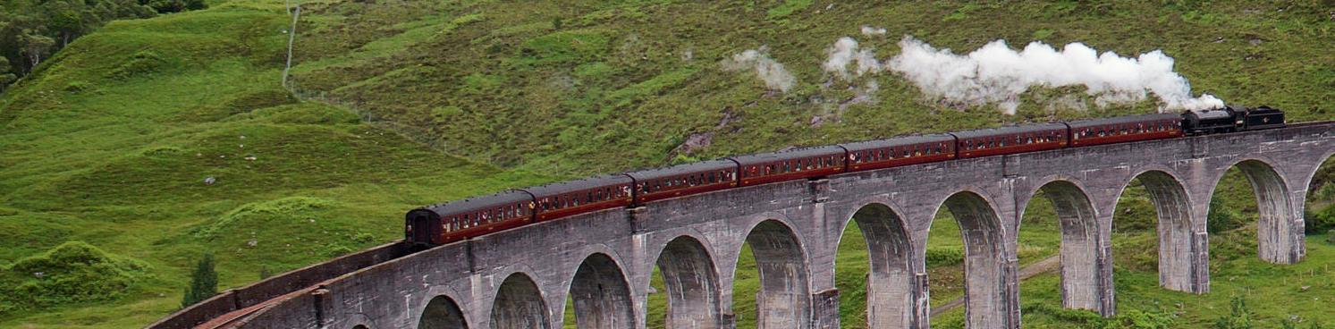 The Jacobite on the Glenfinnan Viaduct, Scotland