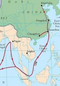 Inb Battuta's route through Straights of Malacca to China