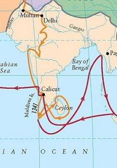Ibn Battuta's path through India