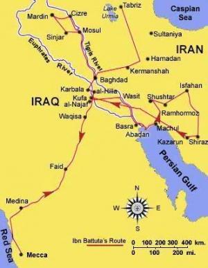 Map of Ibn Battuta's travels in Persia