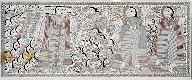 Prince Rama, his brother Lakshmana, and the monkey king Sugriva fight the demon Ravana and his army