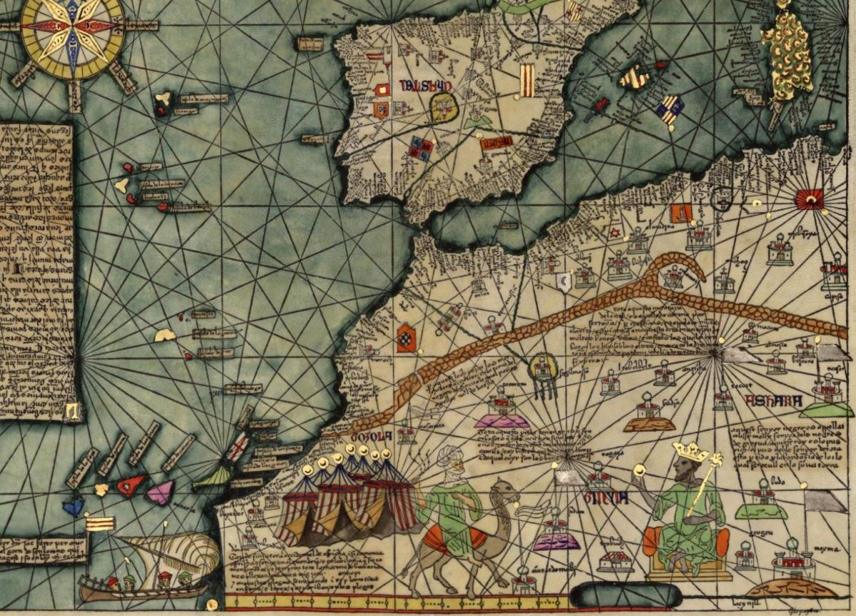 Journey to mali 1350 1351 orias this is a small section of a famous map known as the catalan atlas produced in 1375 the atlas is attributed to abraham cresques a jewish book illuminator gumiabroncs Image collections