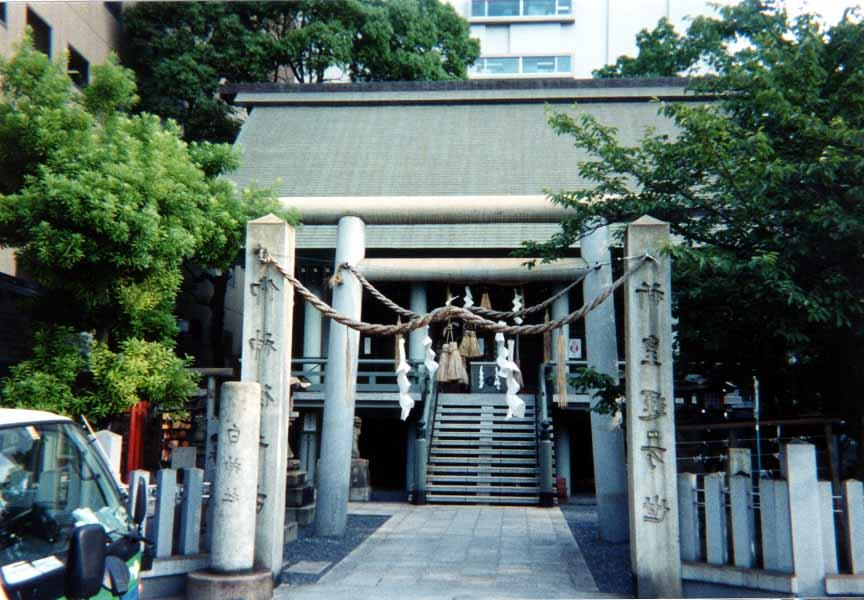 Modern shrine in Fukuoka City using cement in place of wood