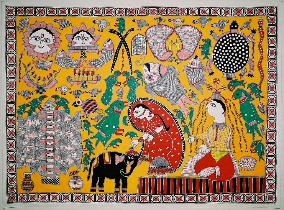 Mathila painting - Elements of the Kohbar