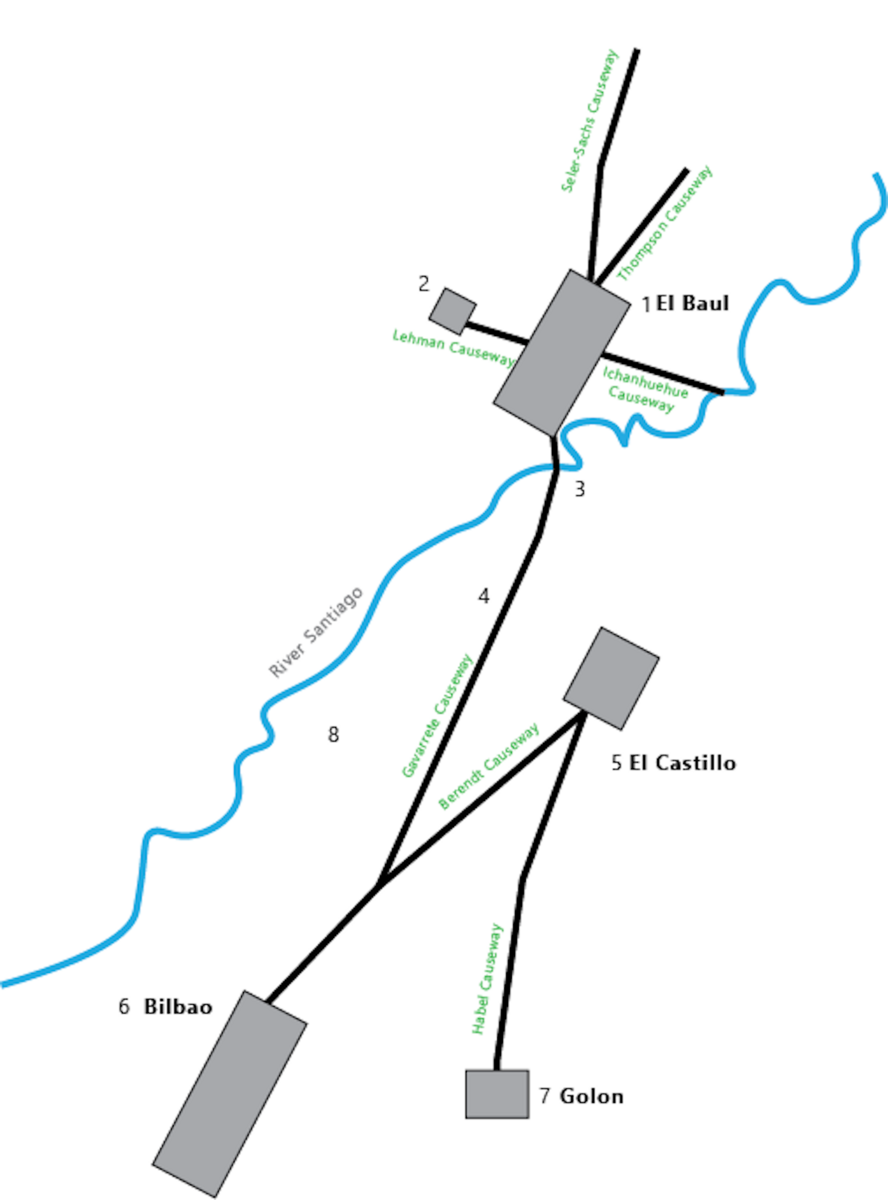 From north to south: El Baul, El Castillo, Bilbao, and Golon, all connected by causeways.