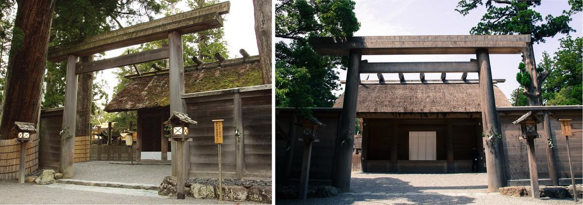Entrance to part of Ise Shrine in 2013 and 2018