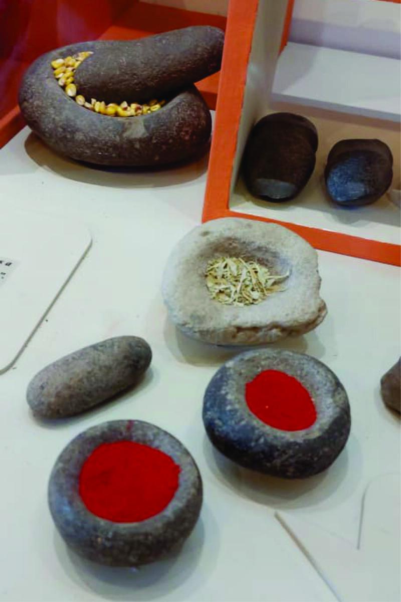 three varieties of stone mortar and pestle