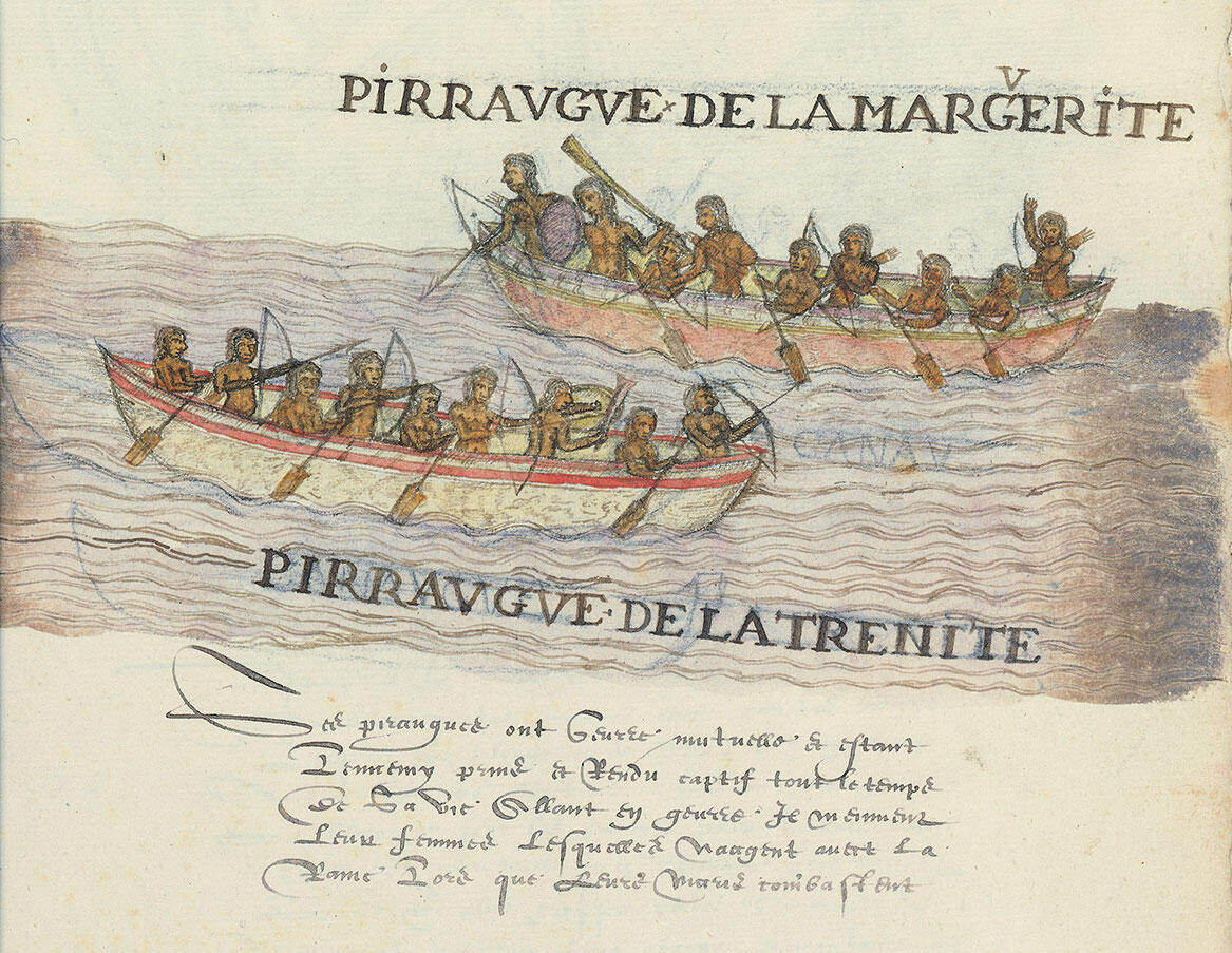two canoes filled with men and women, engaged in conflict