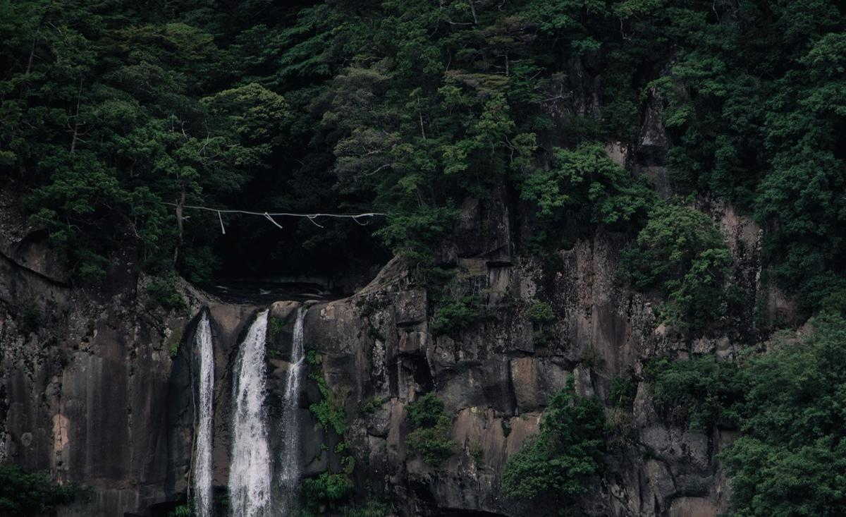 View of shimenawa at top of Nachi Falls, Japan
