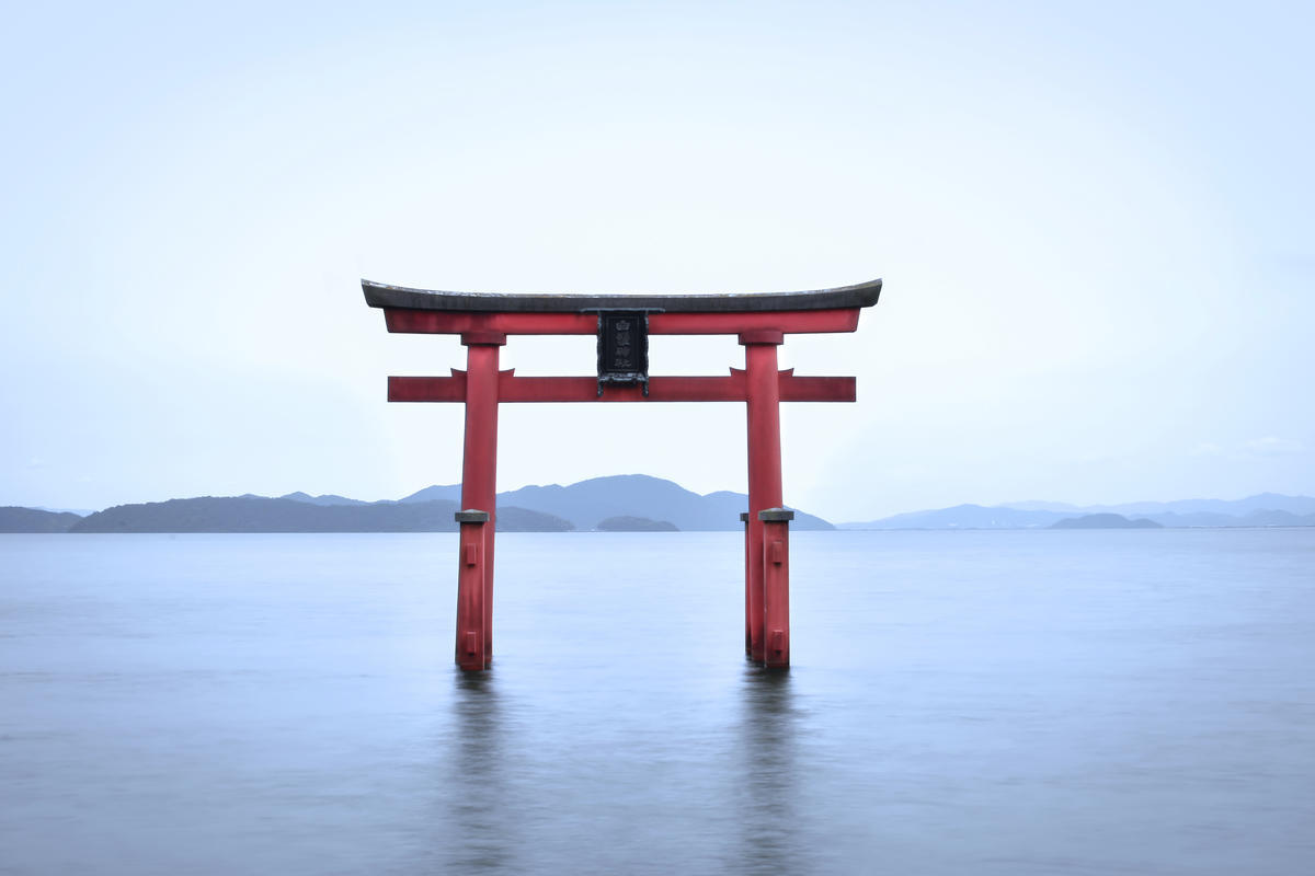 Torii in Lake Biwa at Shirahige Shrine
