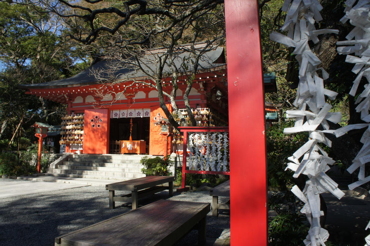 Tsurugaoka Hachimangū Shrine showing ema and omikuji
