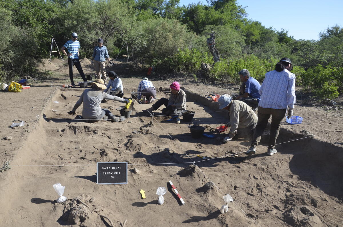 excavation site, several people sit in gridded squares within a shallow pit, sifting dirt