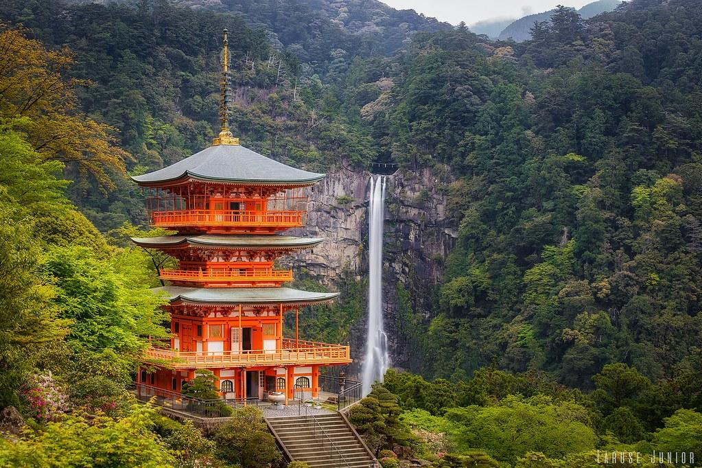 Image of Nachi Falls, Japan, with temple