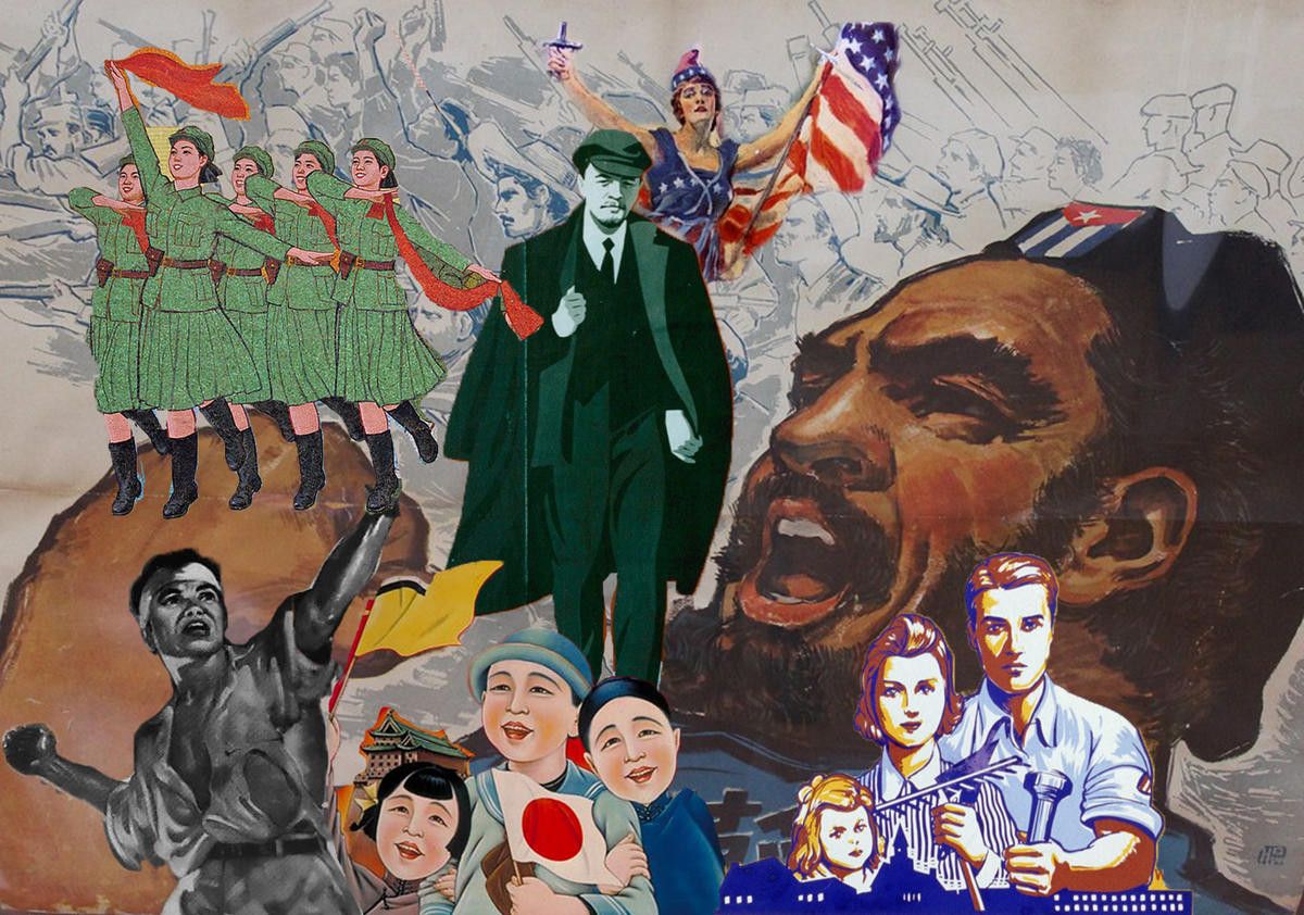 Collage featuring elements from propaganda posters from China, the US, the Philippines, Manchukuo, and North Korea
