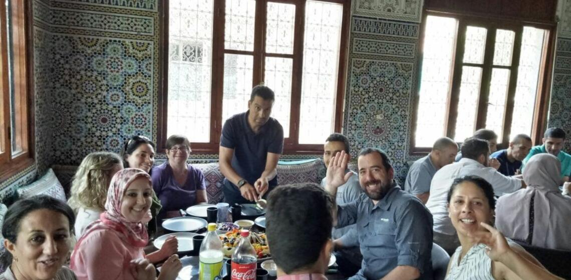 Fulbright group at dinner in Morocco