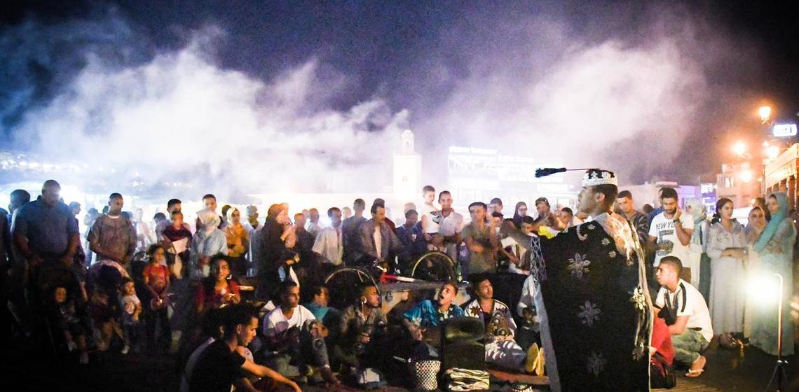 Storytelling in public square in Marrakech