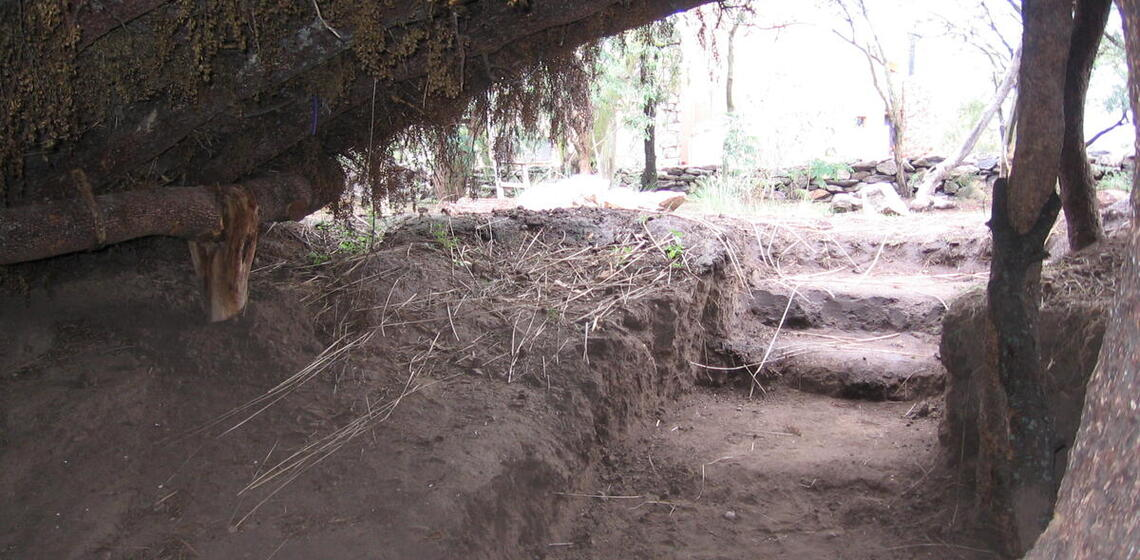 house interior, earthen floors with steps leading out and up to ground level