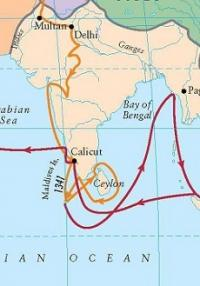 Ibn Battuta route from India to Sri Lanka and Maldives