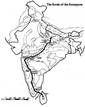 Map of route taken in Ramayana